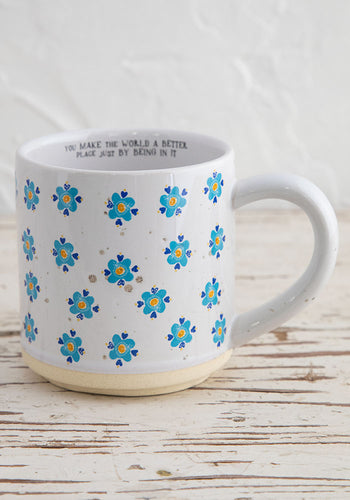 Ceramic mug bungalow blue flowers