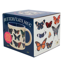 Load image into Gallery viewer, The Unemployed Philosophers Guild butterfly theme disappearing mug box