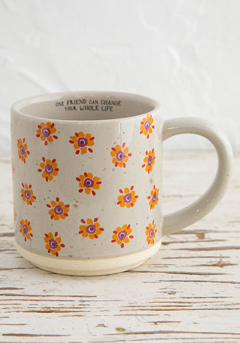 Ceramic mug bungalow yellow flowers