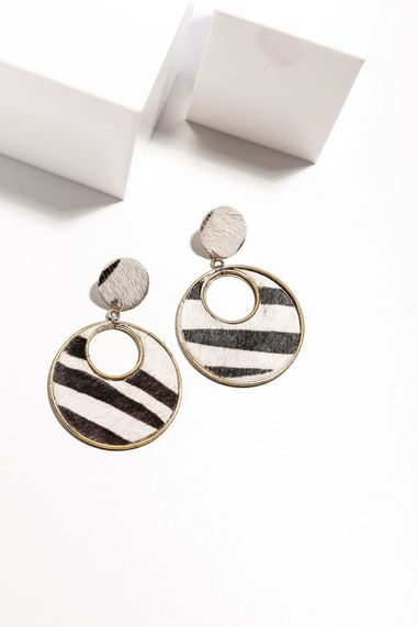 Cougar earrings zebra print
