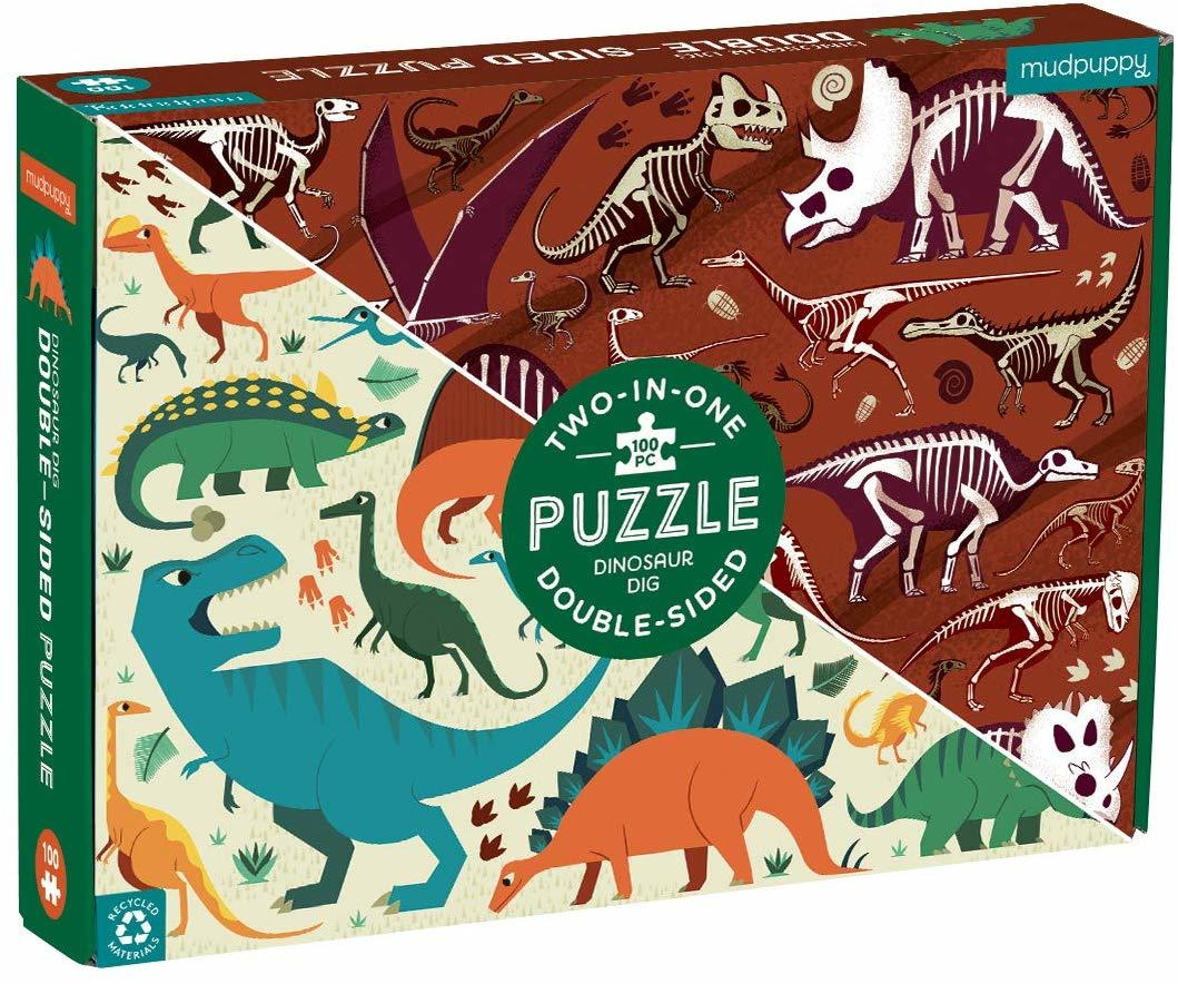 Dinosaur theme double sided 100pc puzzle