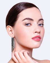 Load image into Gallery viewer, Ebony Striped Gingham Angled Bar Drop Earrings