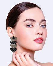 Load image into Gallery viewer, Ebony Striped Gingham Layered Quad Moon Earrings
