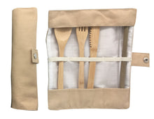 Load image into Gallery viewer, Eco travel cutlery set oat colour