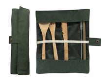 Load image into Gallery viewer, Eco travel cutlery set olive colour