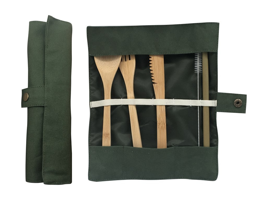 Eco travel cutlery set olive colour