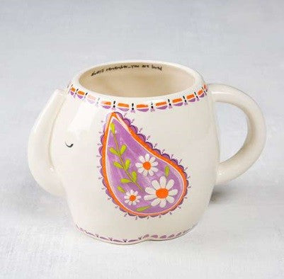 Folk mug remember elephant painted ceramic