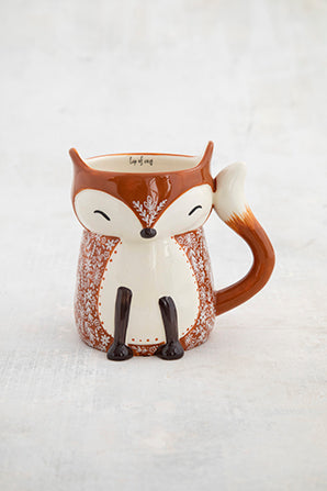 Folk mug cozy fox painted ceramic