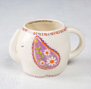 Folk elephant ceramic mug