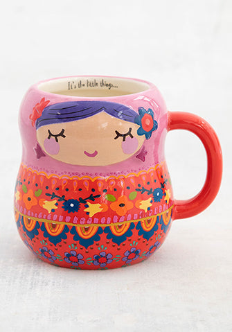 Folk mug nesting doll red multicolour ceramic
