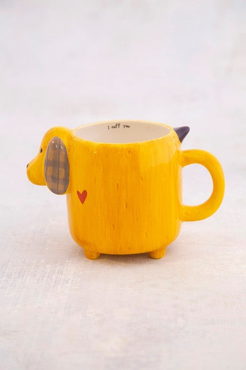 Folk mug yellow dog painted ceramic