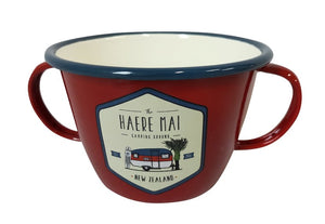Haere mai red enamel double handled mug
