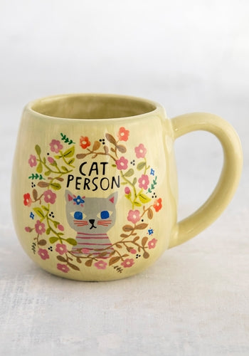 Happy mug cat person floral print ceramic