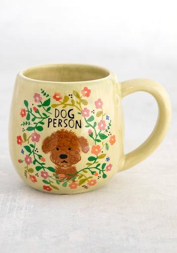 Happy mug dog person floral print ceramic