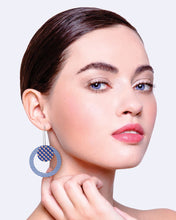 Load image into Gallery viewer, Indigo Striped Gingham Circle Long Drop Earrings