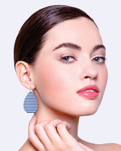 Load image into Gallery viewer, Indigo Striped Gingham Med Tear Drop Earrings