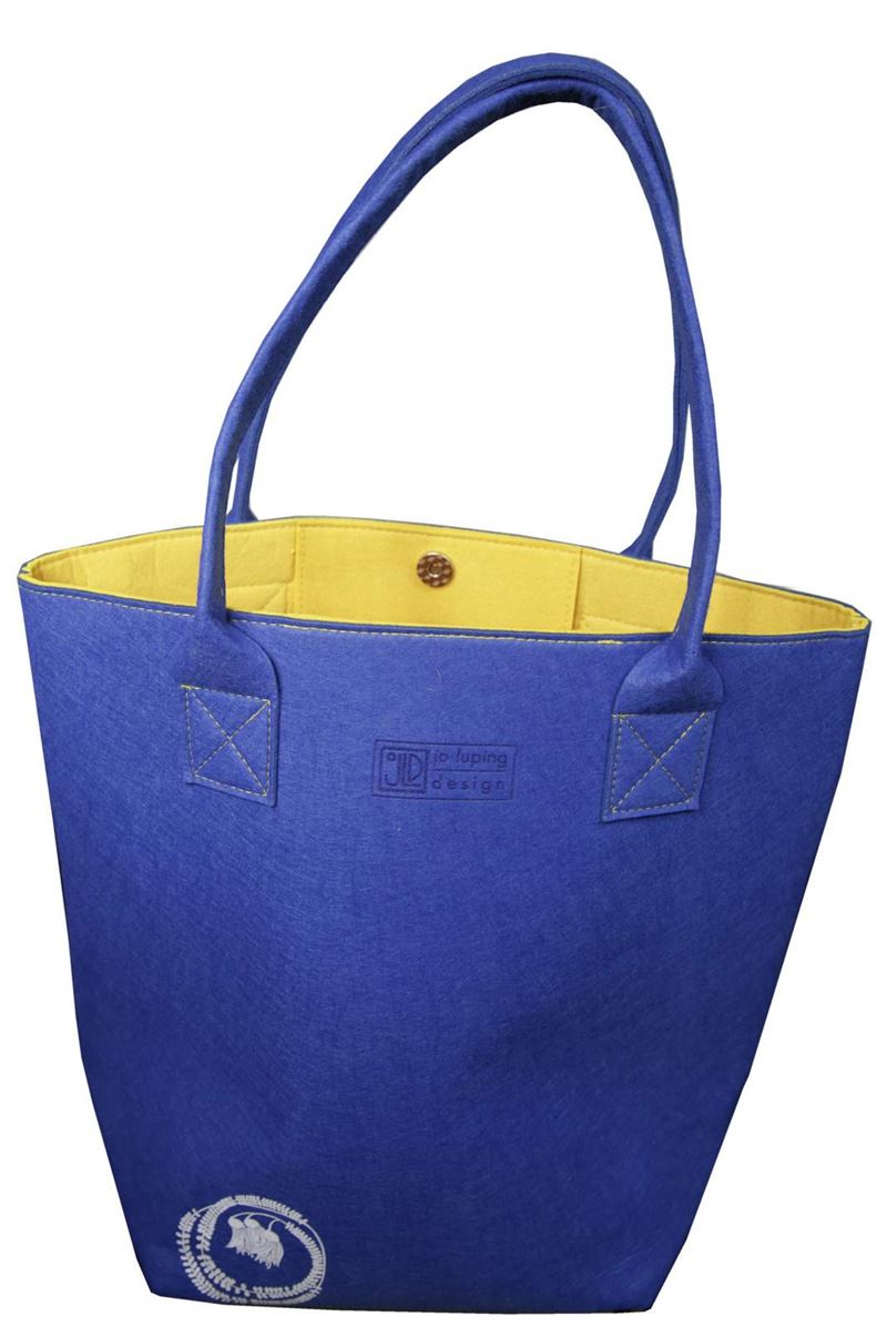 Jo Luping Kōwhai blue and yellow shoulder tote bag