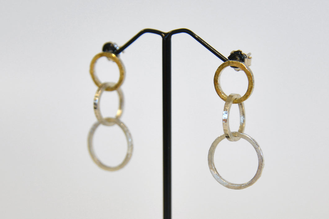 Lucia Araoz - Three Loops Interlaced Silver and Gold Earrings
