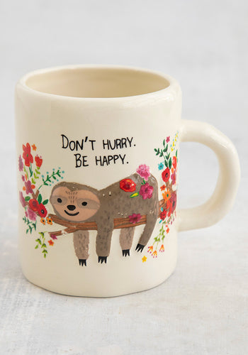 Mug happy embossed floral grey sloth painted ceramic
