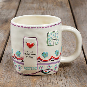 Folk mug do more of what makes you happy painted ceramic