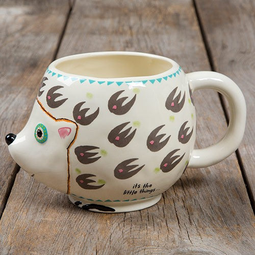 Folk mug hedgehog friend painted ceramic
