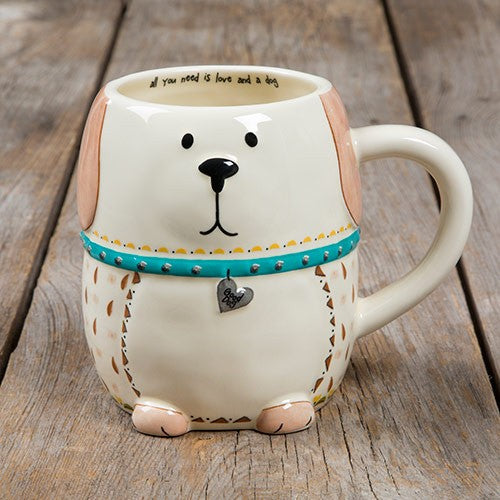 Folk mug love and a dog painted ceramic