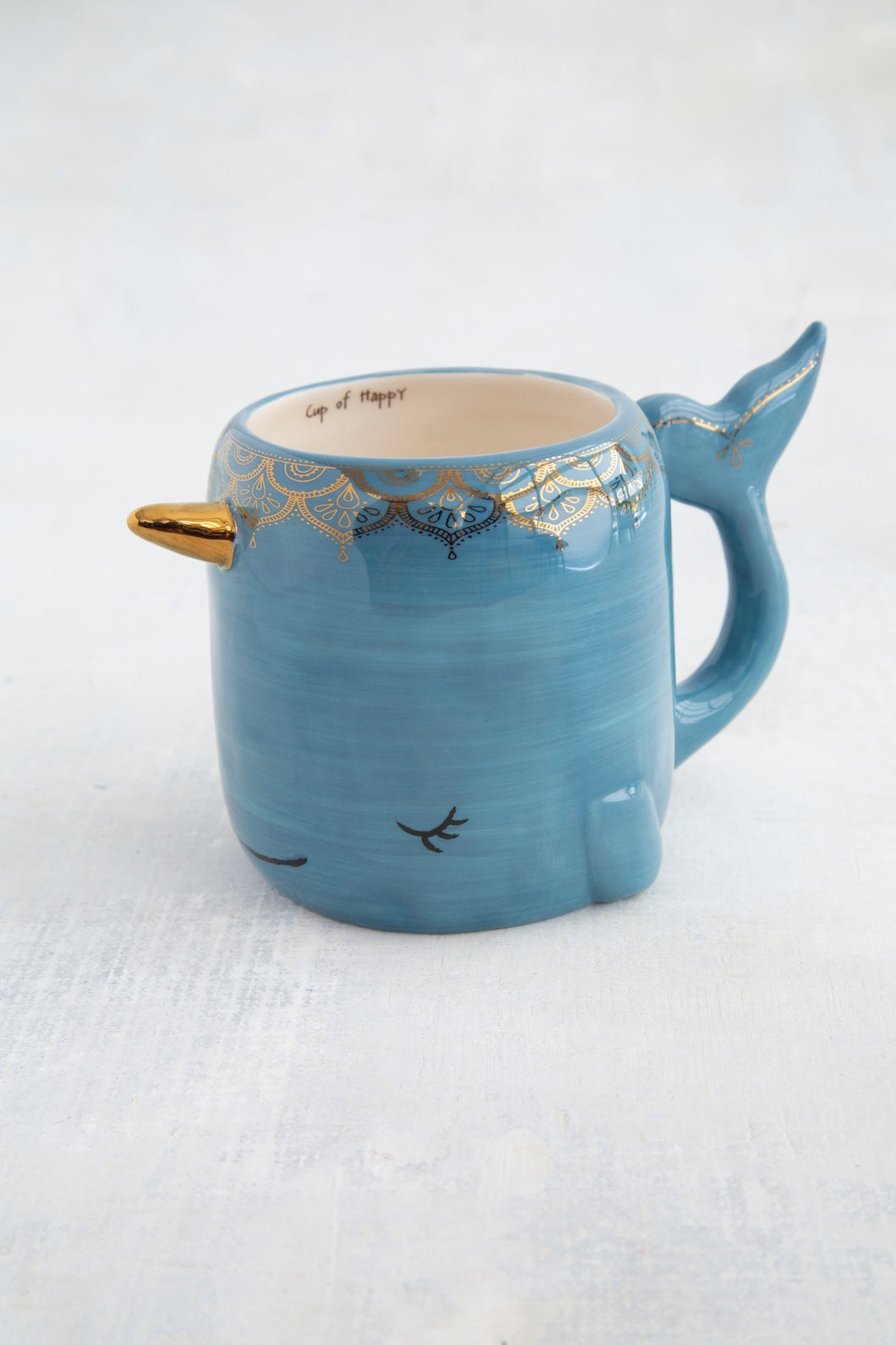 Folk mug narwhal blue painted ceramic