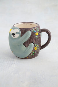 Folk mug sloth grey painted ceramic