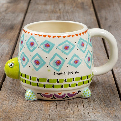 Folk mug I turtley love you painted ceramic