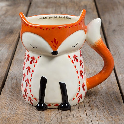 Folk mug wherever fox painted ceramic