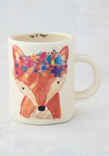 Mug happy prairie fox painted ceramic