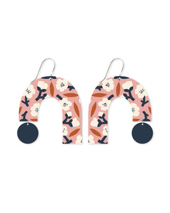 Moe moe Myriam Van Neste peach blossom big rainbow arch drop earrings