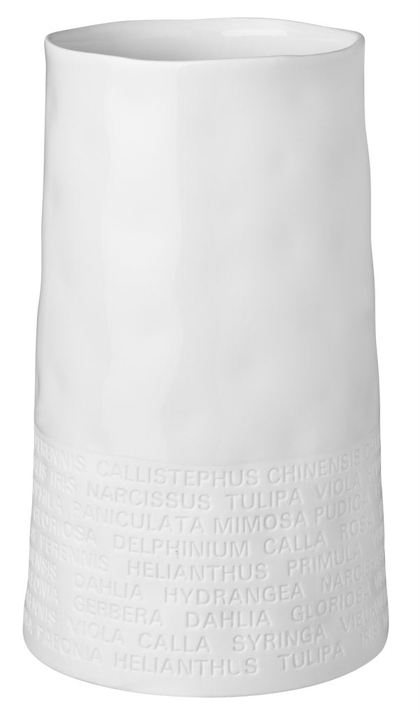 Porcelain vase wide with poetry, white
