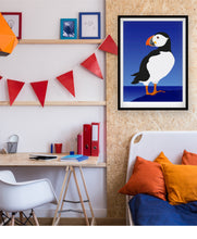 Load image into Gallery viewer, Hansby Design Puffin art print on wall