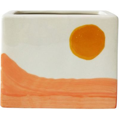 Orange & White Skyla Landscape Planter