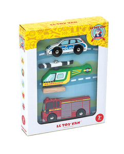 car set with fire truck, air ambulance and police car