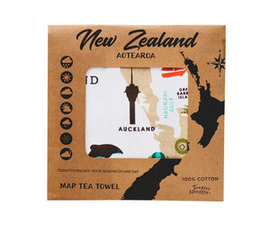 Toodles noodles map of New Zealand tea towel packaged