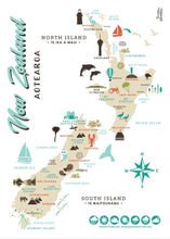 Load image into Gallery viewer, Toodles noodles map of New Zealand tea towel