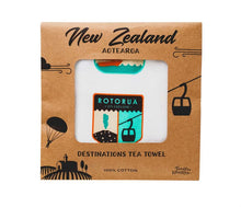 Load image into Gallery viewer, Toodles noodles New Zealand destinations tea towel packaged