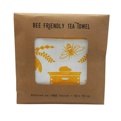 Wolfkamp and Stone bee friendly tea towel packaged