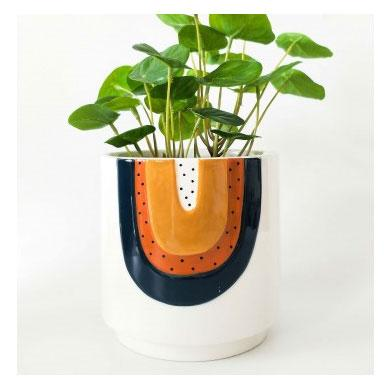 terracotta painted planter with rainbow