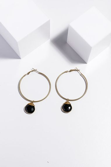 Amba earrings gold and black