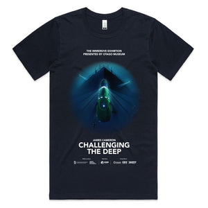 Challenging the deep navy blue t shirt