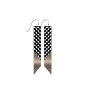 Load image into Gallery viewer, Moe moe ebony striped gingham angled bar drop earrings