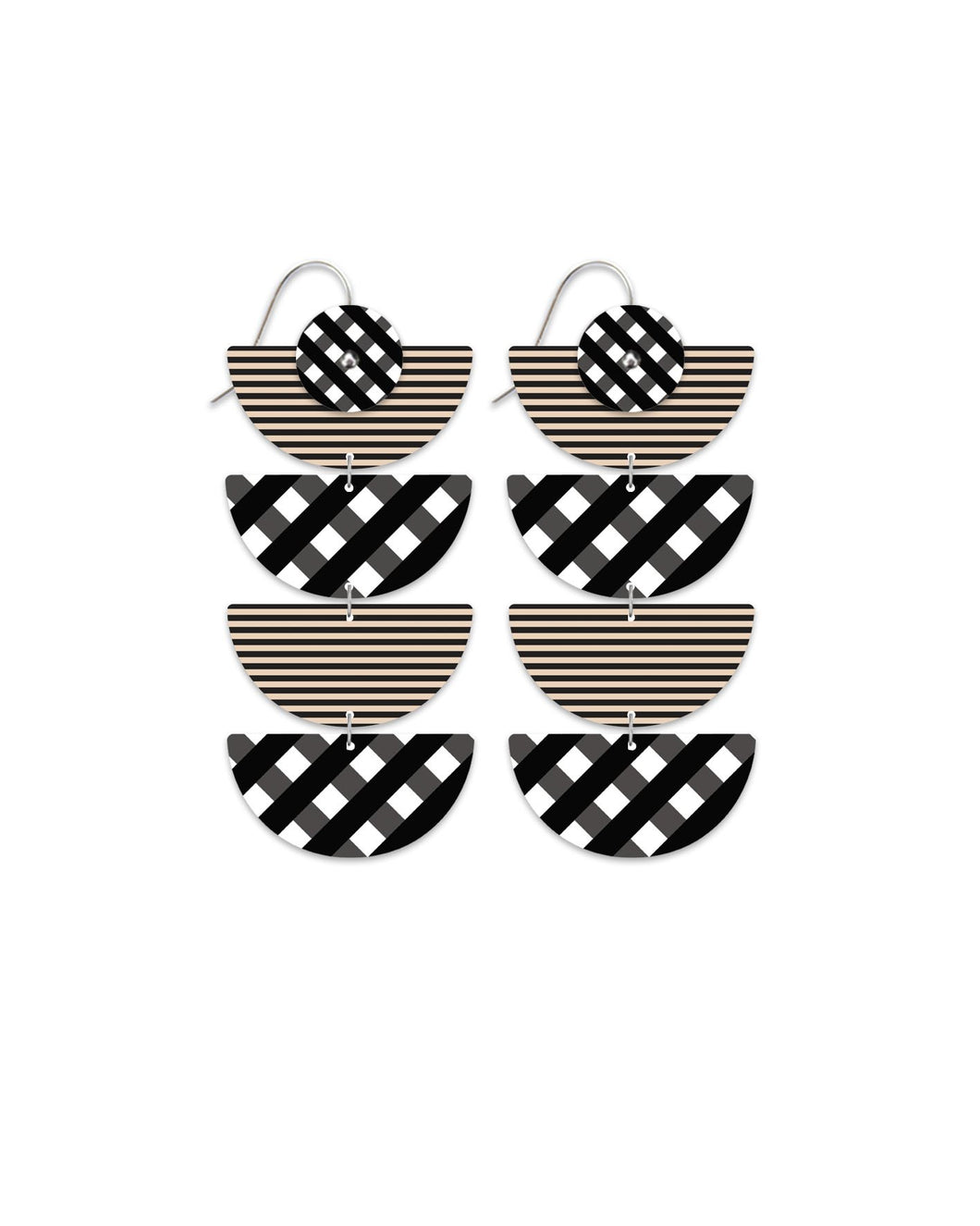 Moe Moe ebony striped gingham quad moon earrings