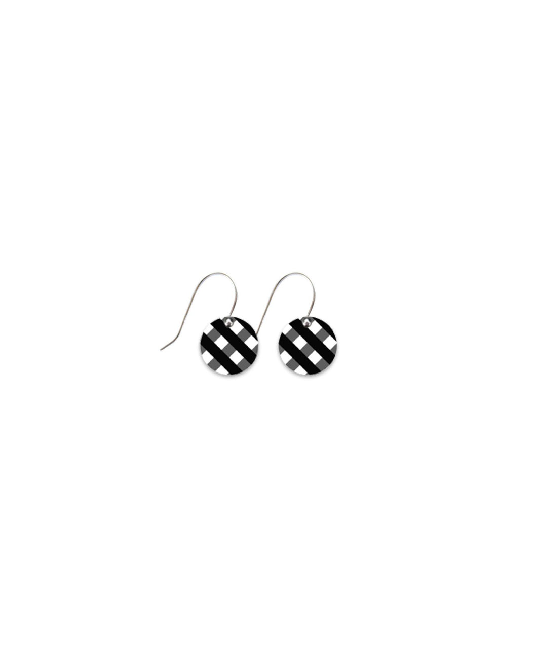 Moe moe ebony striped gingham small drop circle earrings