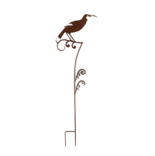 Decorative garden stake with huia