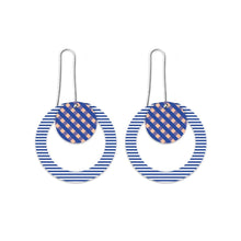 Load image into Gallery viewer, Moe moe indigo striped gingham circle long drop earrings