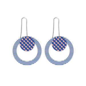 Moe moe indigo striped gingham circle long drop earrings