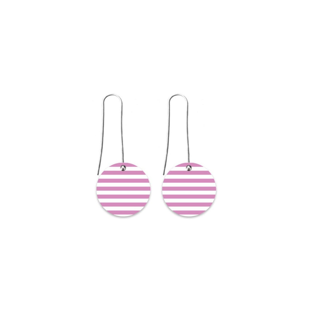 Moe moe lilac striped gingham circle long drop earrings